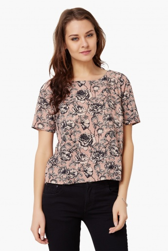 CODE Floral Print Round Neck Top
