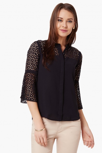 CODE Laser Cut Bell Sleeves Shirt