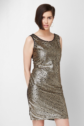 CODE Sequinned Sleeveless Dress