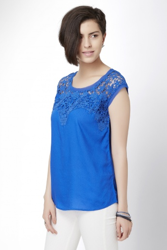 CODE Solid Lace Overlay Top