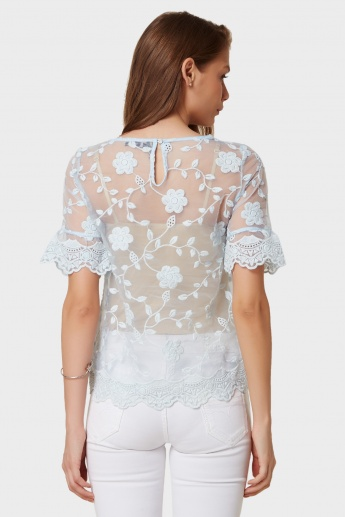 CODE Sheer Floral Embroidery Top