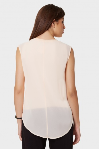 CODE Solid Sleeveless Blouse