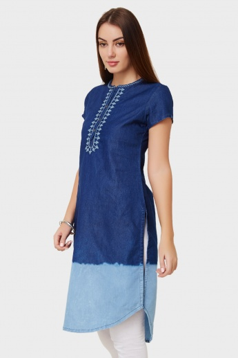 BIBA Embroidered Denim Kurta