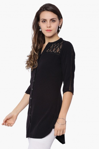 FUSION BEATS Button Placket 3/4th Sleeves Kurti