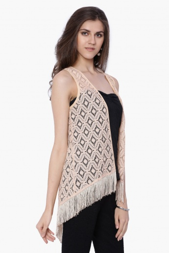 FUSION BEATS Tasselled Crochet Shrug