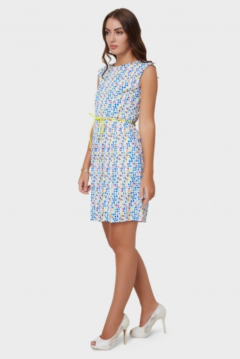 109F Printed Waist Tie-Up Dress