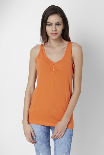 FAME FOREVER Solid Sleeveless Top