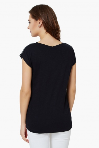 FAME FOREVER Printed Round Neck Top