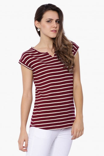 FAME FOREVER Striped Short Sleeves Top