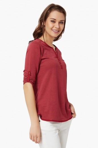 FAME FOREVER Solid Roll-Up Sleeves Top