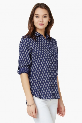 FAME FOREVER Motif Print Roll-Up Sleeves Shirt