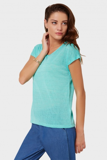 FAME FOREVER Shimmery Stripes Round Neck Top