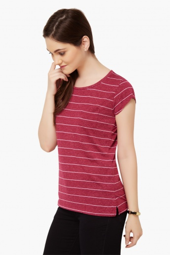 FAME FOREVER Striped Round Neck Top