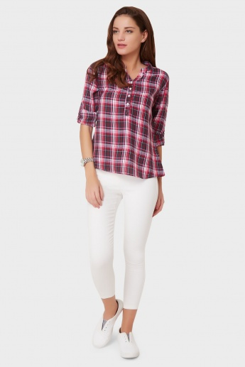 FAME FOREVER Checked Roll-Up Sleeves Blouse