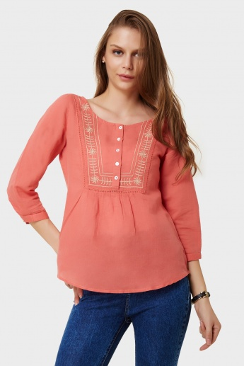 FAME FOREVER Embroidered Boho Blouse