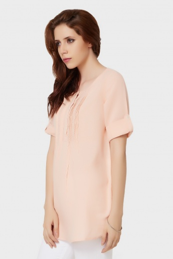 FAME FOREVER Button Placket Roll-Up Sleeves Blouse