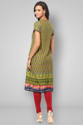 BIBA Printed Notch Round Neck Kurti