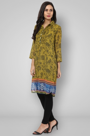 BIBA Collared 3/4th Sleeves Printed Tunic