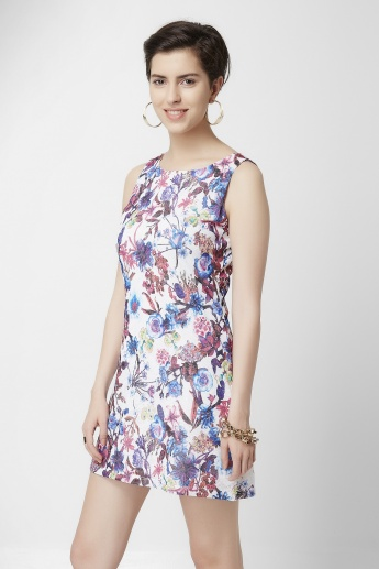 GINGER Floral Printed Round Neck Dress