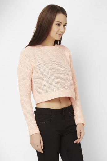 GINGER Seep Through Crop Pullover
