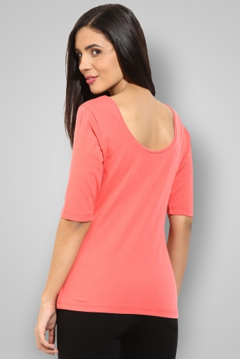 GINGER Solid Round Neck Half Sleeves Top