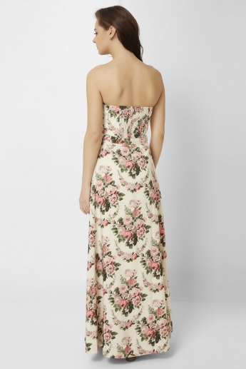 GINGER Vintage Flora Tube Maxi Dress
