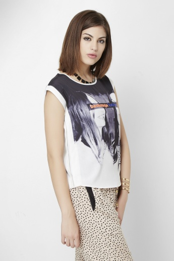 GINGER Printed Cap Sleeves Top