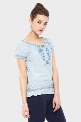 GINGER Embroidered Peasant Top