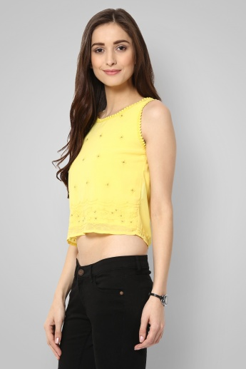 GINGER Sleeveless Embroidered Crop Top