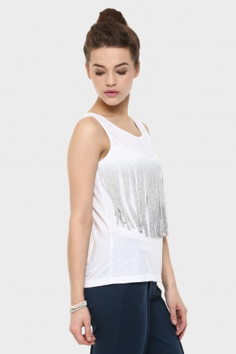 GINGER Fringed Trim Sleeveless Top