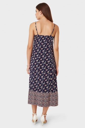 GINGER Floral Print Button Up Strappy Maxi Dress