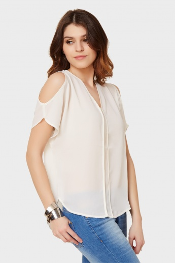 GINGER Cold Shoulder Solid Blouse
