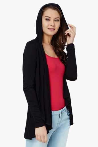 GINGER Solid Hooded Shrug
