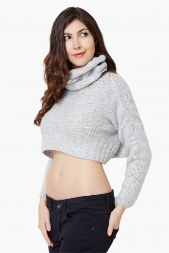 GINGER Cowl Neck Crop Sweater