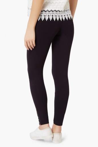 GINGER Solid Zipped Ankle Leggings