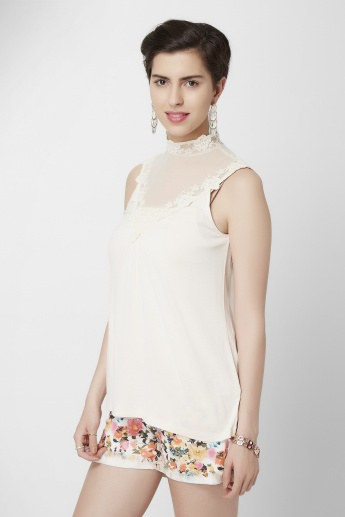 GINGER High Collar Lace Detail Top