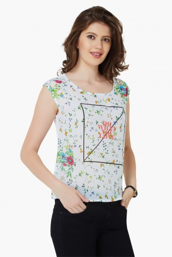 GINGER Do What You Love Floral Print Top
