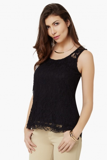GINGER Lace Overlay Sleeveless Top