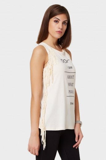 GINGER Fringed Trims Sleeveless Top
