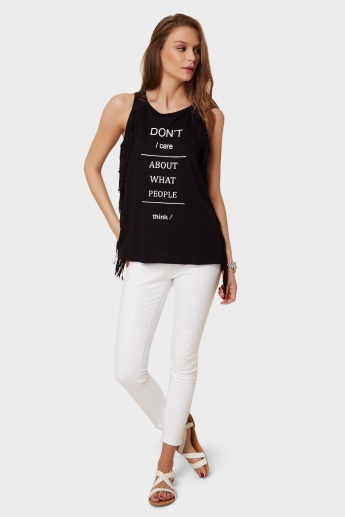 GINGER Tasselled Accent Tank Top