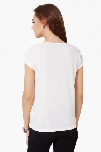GINGER Chest Imprint Round Neck Top
