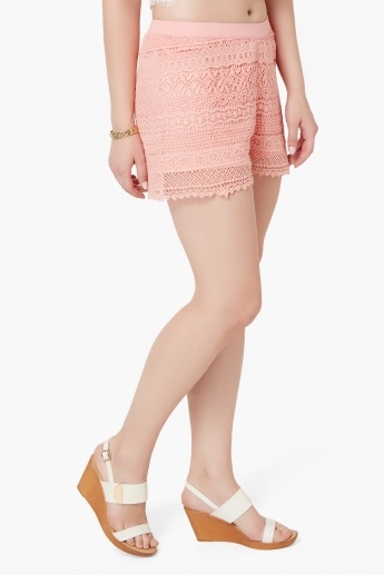 GINGER Lace Overlay Elasticated Waist Shorts