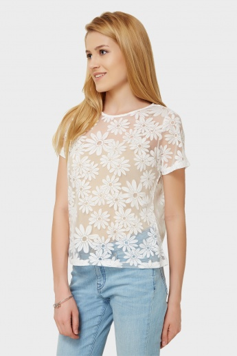 GINGER Floral Bliss Sheer Top