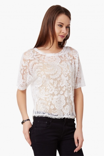GINGER Lace Trim See-Through Top