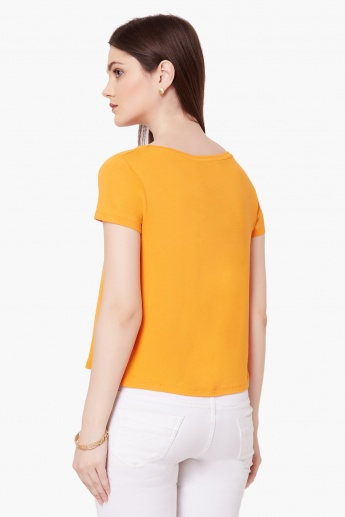 GINGER Solid Round Neck Top
