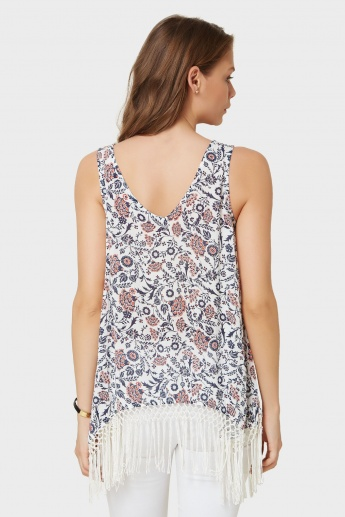 GINGER Printed Tasselled High Low Top