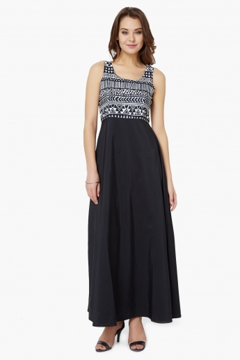 GINGER Printed Bodice Maxi Dress