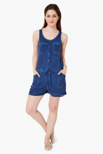 GINGER Sleeveless Mineral Wash Romper