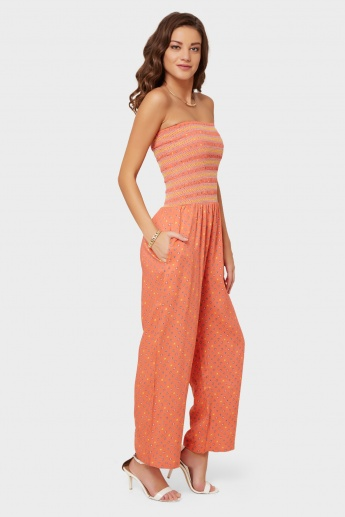 GINGER Elasticated Bodice Printed Jumpsuit