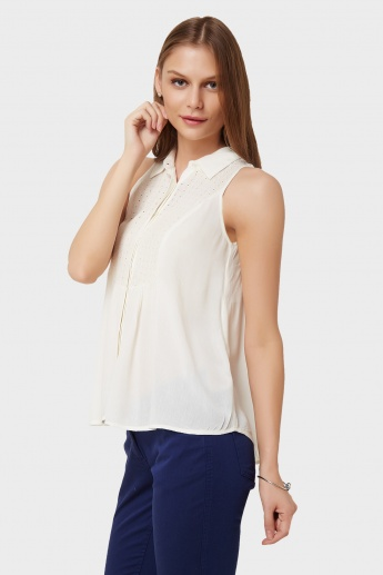 GINGER Eyelet Yoke Sleeveless Shirt